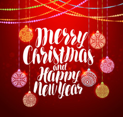 Merry Christmas and Happy New Year, lettering. Xmas greeting card. Vector illustration
