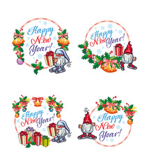 """Set of New Year labels with  funny gnomes and greeting text """"Happy New Year!""""."""