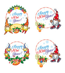 "Set of New Year labels with  funny gnomes and greeting text ""Happy New Year!""."
