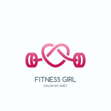 Female fitness gym concept. Vector logo, label, icon or emblem with pink barbell heart shape. Design for woman sports club, workout and bodybuilding.