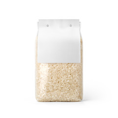 Rice in transparent plastic bag with white label isolated on white background. Packaging template mockup collection. With clipping Path included. Stand-up Front view.