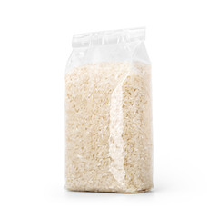 Rice in transparent plastic bag isolated on white background. Packaging template mockup collection. With clipping Path included. Stand-up Halfside view.