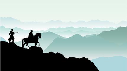 山へ攻め入る将軍のシルエット
