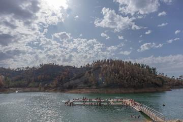 Natural pools in lake.