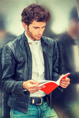 Power Of Reading Young Guy With Beard Wearing Black Leather Jacket