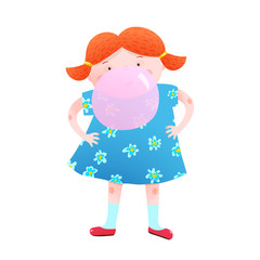 Fun little girl blowing a bubble from chewing gum colorful cartoon. Vector illustration.