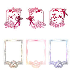 Set of mosaic stickers with silhouette of Cupid and hearts.