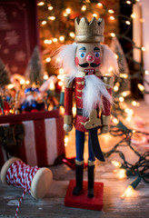 Christmas nutcracker with decorations and lights