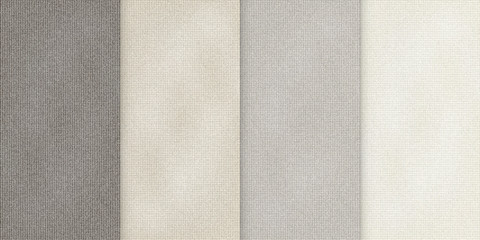 Vector various beige color backgrounds, realistic cloth illustration, set of vertical banners with sackcloth texture.