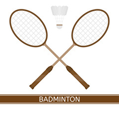 Vector illustration of badminton racket and shuttlecock isolated in white background. Sport equipment in flat style.