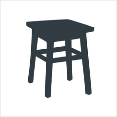 Wooden chair icon. Vector illustration