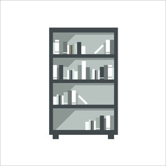 Shelves with books icon. Vector illustration