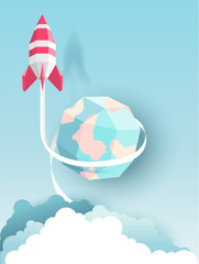 Rocket, globe, cloud, sky, paper art style with pastel color tones.vector illustration