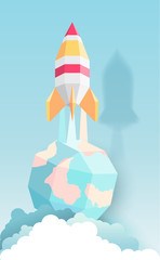 Rocket, globe, cloud, sky, paper art style with pastel color tones.vector illustration