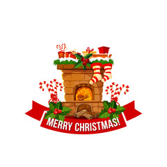 Merry Christmas fireplace chimney vector icon