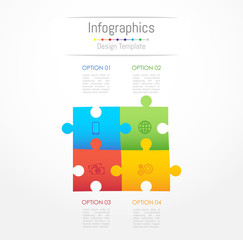 Infographic design elements for your business data with 4 options, parts, steps, timelines or processes. Jigsaw puzzle concept, Vector Illustration.