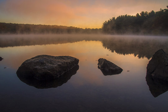 Sunrise over Houghton's Pond in Milton, MA