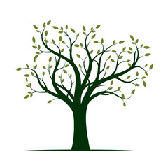 Shape of Green Tree with Leaves. Vector Illustration.