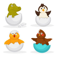 Baby animals hatch eggs or cartoon pets hatching. Vector flat isolated funny toy icons