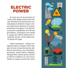Electric power obtainment and usage promotional poster with sample text