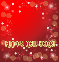 Happy new years card on red background