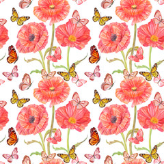 colorful seamless texture with poppies and butterflies. watercolor painting