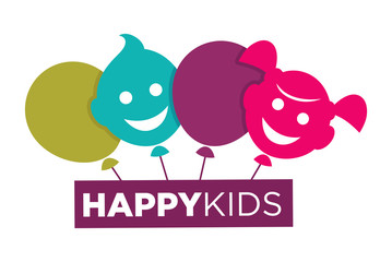 Kids zone logo template of child palm hands and speech bubble with color letters.