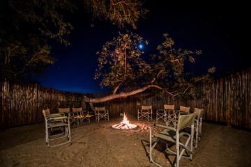 Camp fire in safari lodge