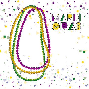 mardi gras colorful background with necklaces and confetti vector illustration