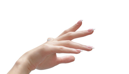 A transparent gel to apply on a female hand on white background.