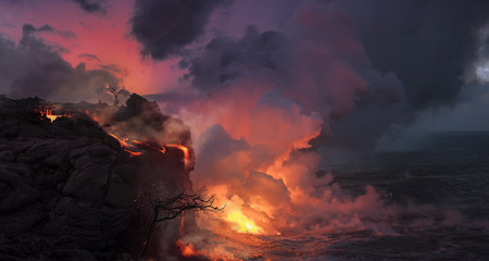 Beautiful volcanic landscape with orange lava flowing into the ocean water, rocks and dry trees against pink sky
