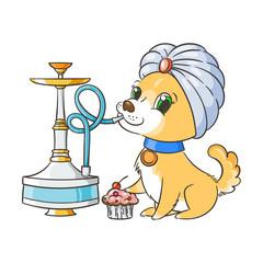 Happy golden cartoon puppy smoking hookah in turban. Cute little dog wearing collar.