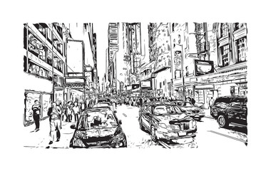 Sketch illustration of The City of New York, often called New York City, simply New York or NYC, is the most populous city in the United States of America in vector.