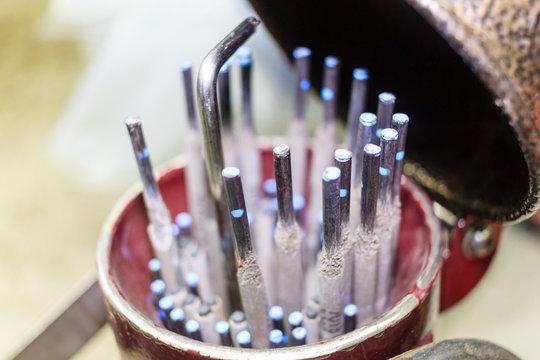 Welding rods or electrode welding.