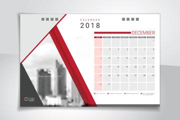 2018 December desk or table calendar, weeks start on Sunday