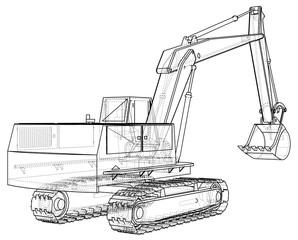 Excavator. Black and white illustration. EPS10 format. Vector created of 3d