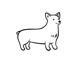 Vector outline staying corgi.