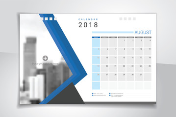 2018 August, desk or table calendar, weeks start on Sunday