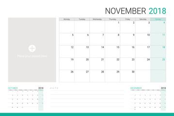 November 2018 illustration vector calendar or desk planner,