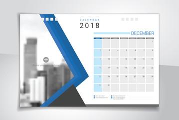 2018 December, desk or table calendar, weeks start on Sunday
