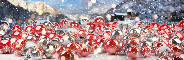 Red and white christmas baubles 3D rendering