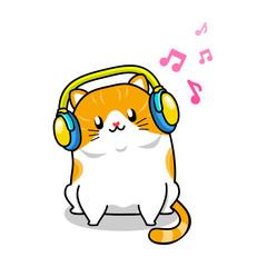Cute cat and headphone cartoon vector illustration