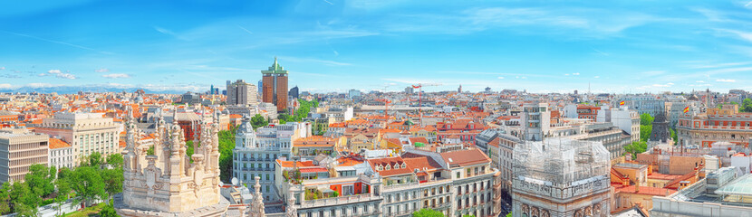 Panoramic view from above on the capital of Spain- the city of Madrid.