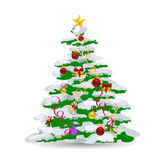 Christmas tree covered with snow, beautifully decorated with toys, cartoon on white background,