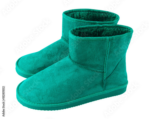 b083ef55883 Sea color turquoise pair of short winter ugg boots isolated white ...