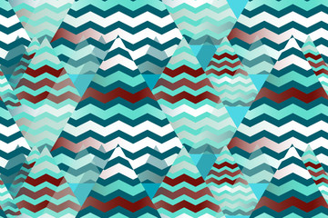 ethnic style seamless pattern with zigzag pics in blue