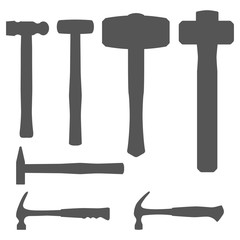 Vector set of various types of hammers: mallet, sledgehammer, maul, claw hammer. Hand tools. Outline isolated on white background.