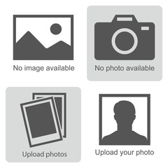 No image available. Set of pictures means that  no photo: blank picture, camera, photography icon and silhouette of a man. Missing image sign or uploading pictures.