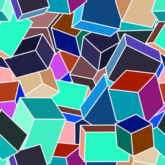 Abstract seamless geometrical pattern. Spatial cubes.
