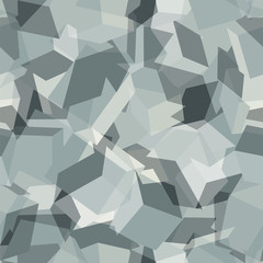 Seamless pattern with geometric camouflage in light grey colors. Vector modern abstract background.